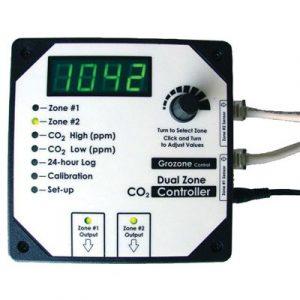 Contrôleur de climat, HR/°T/CO2 Humidifier, déshumidifier, chauffer, refroidir Injection ou ventilation de CO2 Modes jour/nuit/24h 0-100% RH / 0-100°C / 0-5000 ppm Valeurs de consigne distinctes et enregistrement de données 24 heures pour chaque capt