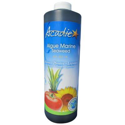 L'Algue marine liquide Acadie provient d'algues Ascophyllum nosodum (rockweed) fraîchement cueillies des eaux froides des côtes de l'Atlantique Nord. L'Algue marine Acadie est non-toxique. C'est un ingrédient organique qui possède plus de 60 éléments nutr